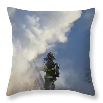 Throw Pillow featuring the photograph Up In Smoke by Carl Young