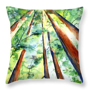 Up Through The Redwoods Throw Pillow