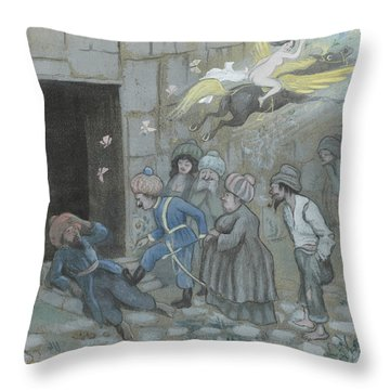 Throw Pillow featuring the drawing Up With You Your Trashank - The Police Awaken The Omnid Ben Oni by Ivar Arosenius