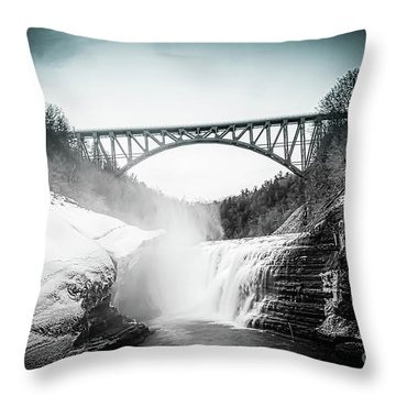 Upper Falls At Letchworth State Park Throw Pillow