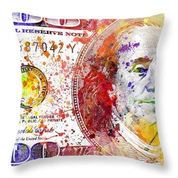 U.s. Dollar Throw Pillow