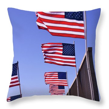 U.s. Flags, Presidents Day, Central Valley, California Throw Pillow