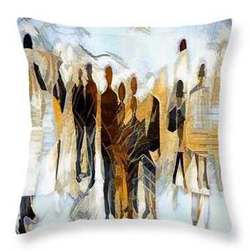 Throw Pillow featuring the digital art Us - Neutral Colours by Pennie McCracken