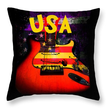 Usa Flag Guitar Purple Stars And Bars Throw Pillow