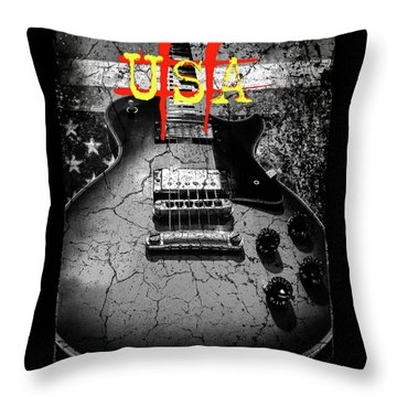 Usa Flag Guitar Relic Throw Pillow