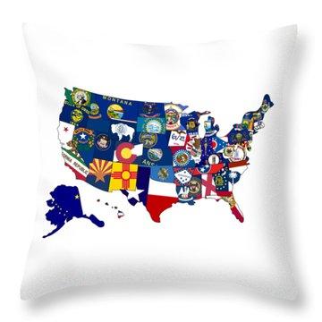Usa States Flags Map Throw Pillow
