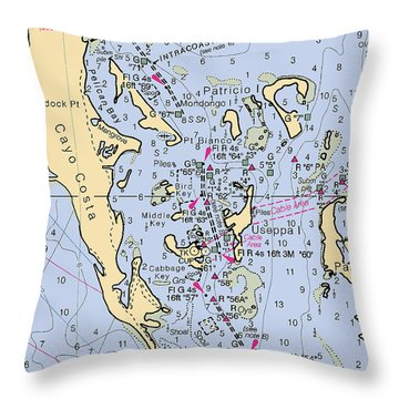 Useppa,cabbage Key,cayo Costa Nautical Chart Throw Pillow