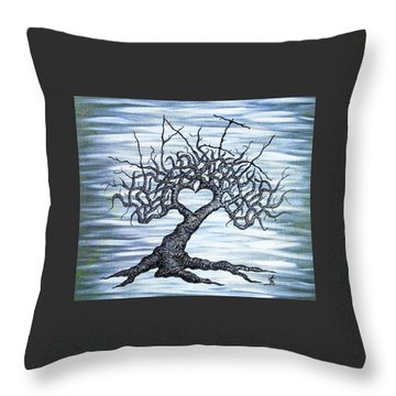 Throw Pillow featuring the drawing Vail Love Tree by Aaron Bombalicki