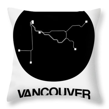 Vancouver Black Subway Map Throw Pillow
