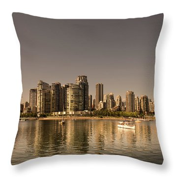 Vancouver Golden Light Hour Throw Pillow