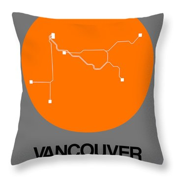 Vancouver Orange Subway Map Throw Pillow