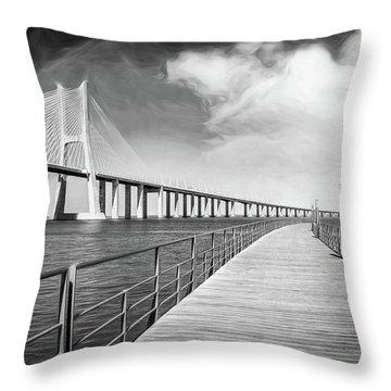 Vasco Da Gama Bridge Lisbon Portugal Black And White  Throw Pillow