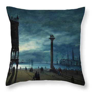 Venice, A Nocturnal View Of Piazza San Marco Throw Pillow