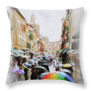 Venice In The Rain Throw Pillow