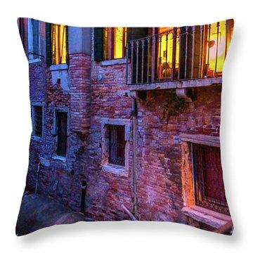 Venice Windows At Night Throw Pillow