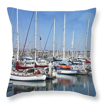 Ventura Harbor  By Linda Woods Throw Pillow