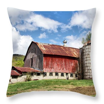 Throw Pillow featuring the photograph Vermont Barn And Silo  by Betty Pauwels