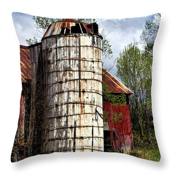 Throw Pillow featuring the photograph Vermont Farmhouse Silo  by Betty Pauwels