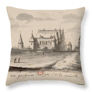 Veueof The Pigs Of The Coste Of The New France Throw Pillow
