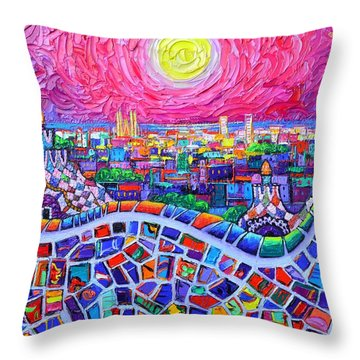 Vibrant Barcelona Night View From Park Guell Modern Impressionism Knife Painting Ana Maria Edulescu Throw Pillow