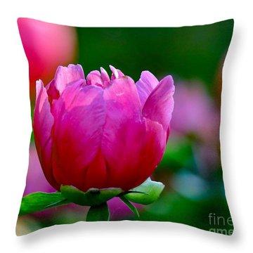 Vibrant Pink Peony Throw Pillow