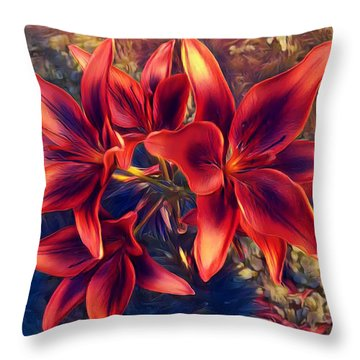 Vibrant Red Lilies Throw Pillow