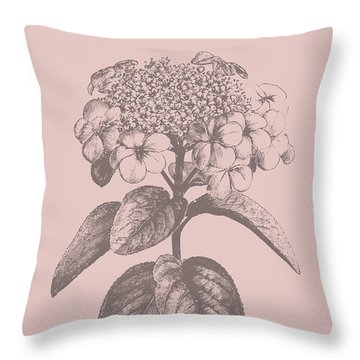 Viburnum Blush Pink Flower Throw Pillow