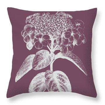 Viburnum Blush Purple Flower Throw Pillow