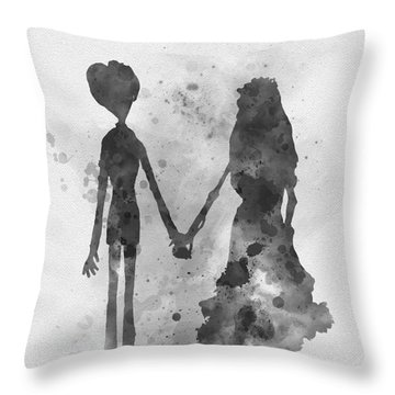 Victor And Emily Black And White Throw Pillow