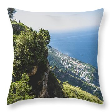 View Of Amalfi Italy From Path Of The Gods Throw Pillow