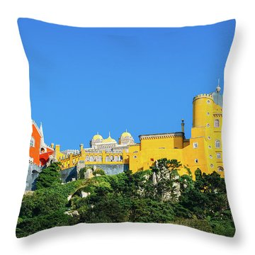 View Of Pena National Palace, Sintra, Portugal, Europe Throw Pillow
