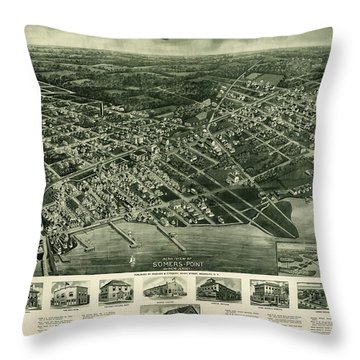 View Of Somers-point, New Jersey, 1925 Throw Pillow