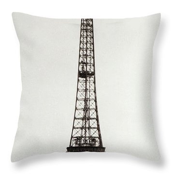 View Of The Construction Of The Eiffel Tower, Paris, 12th February And 12th March 1889 Throw Pillow