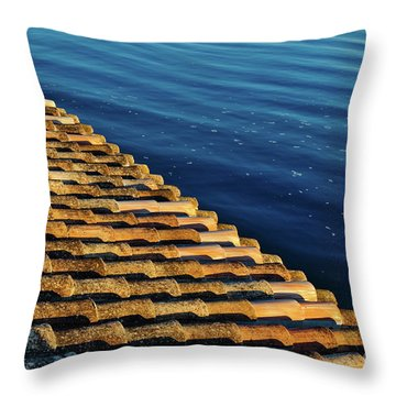 View Of The River From The Rooftop. Algarve Throw Pillow