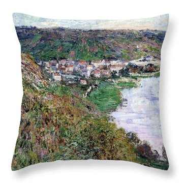 View Of Vetheuil - Digital Remastered Edition Throw Pillow
