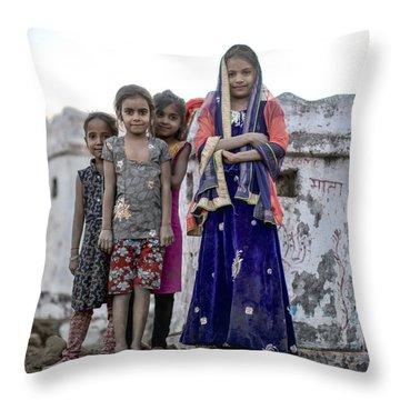 Village Girls Throw Pillow