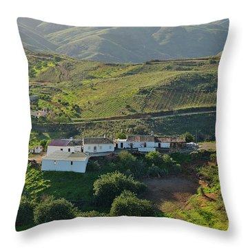 Village Hidden In The Mountains Throw Pillow