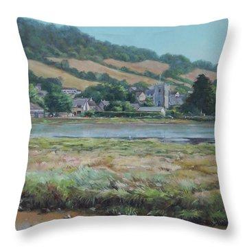 Village Of Axmouth On The River Axe Throw Pillow
