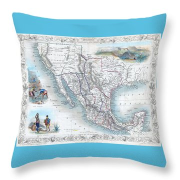 Vingage Map Of Texas, California And Mexico Throw Pillow