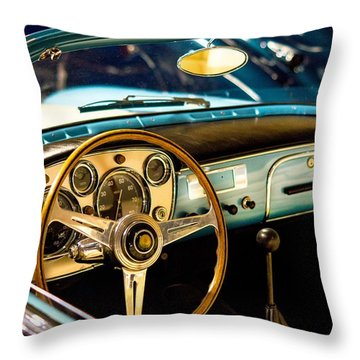 Vintage Blue Car Throw Pillow