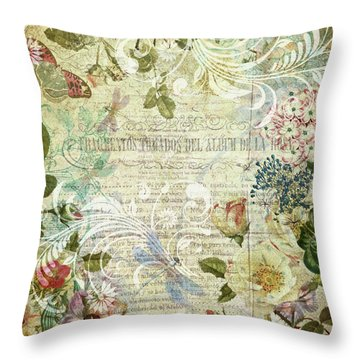 Vintage Botanical Illustration Collage Throw Pillow