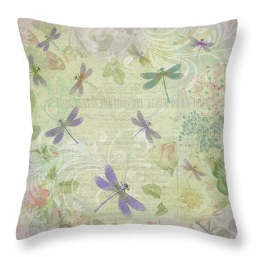 Vintage Botanical Illustrations And Dragonflies Throw Pillow