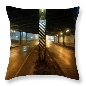 Vintage Chicago Bridge At Night Throw Pillow