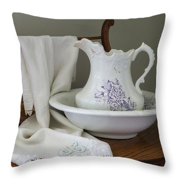 Vintage China Pitcher And Bowl Throw Pillow