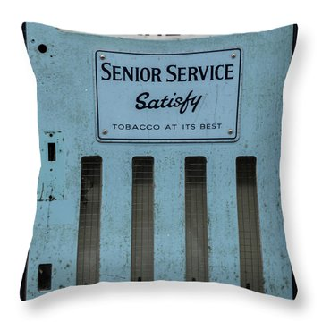 Senior Service Vintage Cigarette Vending Machine Throw Pillow