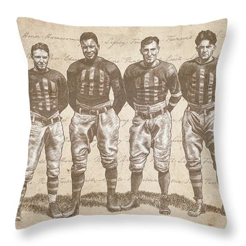 Vintage Football Heroes Throw Pillow