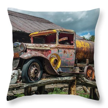 Vintage Ford Tanker Throw Pillow