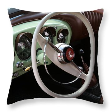 Throw Pillow featuring the photograph Vintage Kaiser Darrin Automobile Interior by Debi Dalio