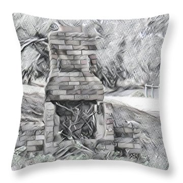 Vintage Look Fireplace Throw Pillow