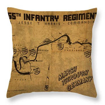 Vintage Map Of 355th Regiment March Through Germany Throw Pillow